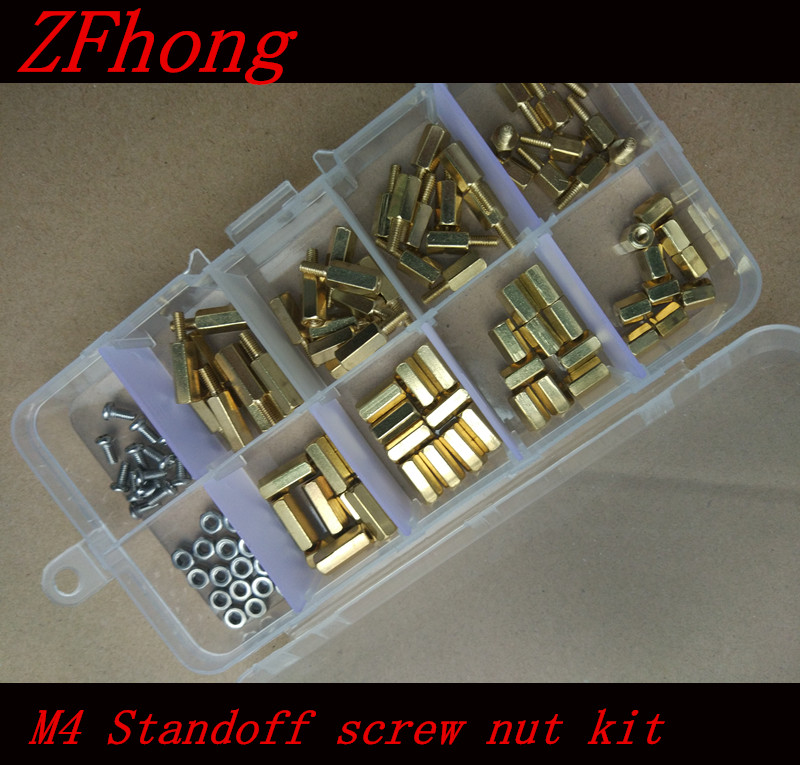120pcs M4*6/8/10/12  M4 (4mm) Brass Standoff Spacer M4 Male x Female Thread Long 6mm With Hex Nuts Assortment Kit 20pcs m3 copper standoff spacer stud male to female m3 4 6mm hexagonal stud length 4 5 6 7 8 9 10 11 12mm