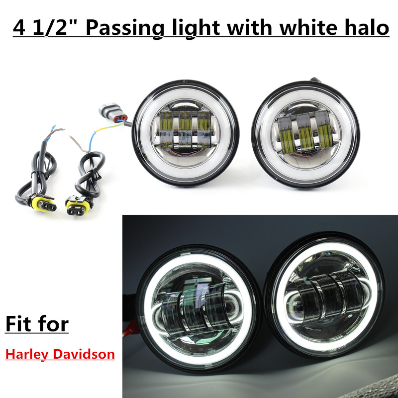 4.5 Inch LED Fog Lights Projector Auxiliary Daymaker Headlight Motorcycle Passing Fog Light Lamps With DRL For Harley 1pair 4 5inch 30w 4 inch daymaker projector led auxiliary lamps fog lights for harley davidson chrome housing