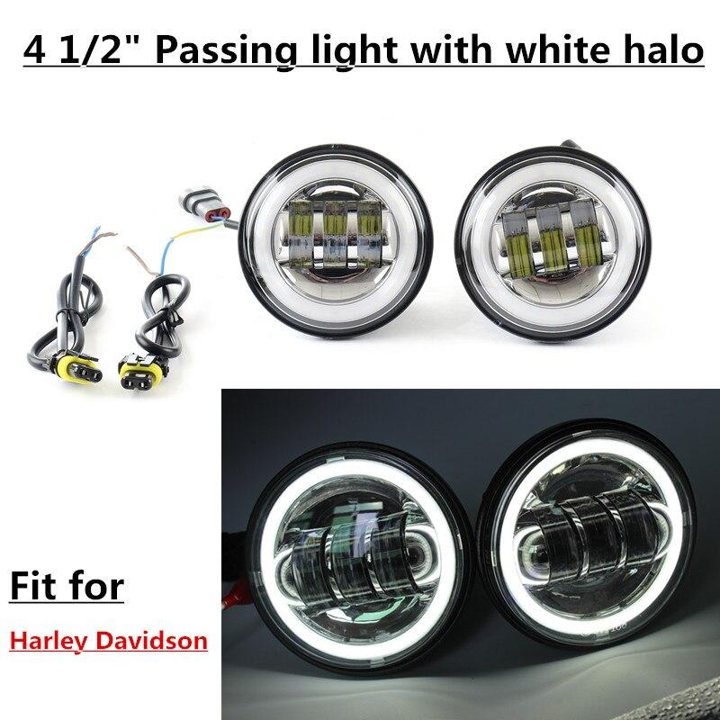 4.5 pouce LED Brouillard Lumières Projecteur Auxiliaire Daymaker Phare Moto Passant Brouillard Lumière Lampes Avec DRL Pour Harley