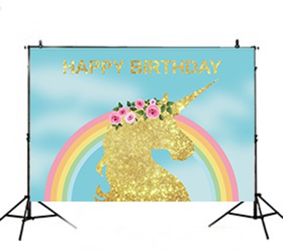Rainbow 3D Rose Leaves Golden Unicorn Party Blue photo backdrop Vinyl cloth High quality Computer print birthday Backgrounds напольная плитка atlas concorde marvel pro cremo delicato lapp 60x60