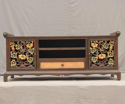 Southeast Asian Furniture Imports Teak Carved Thai Tv Cabinet