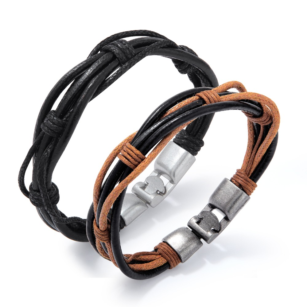 Multi-layer Leather Bracelets for Men Fashion Punk Style Bracelets & Bangles Male Jewelry Gift for Him (BA102344)