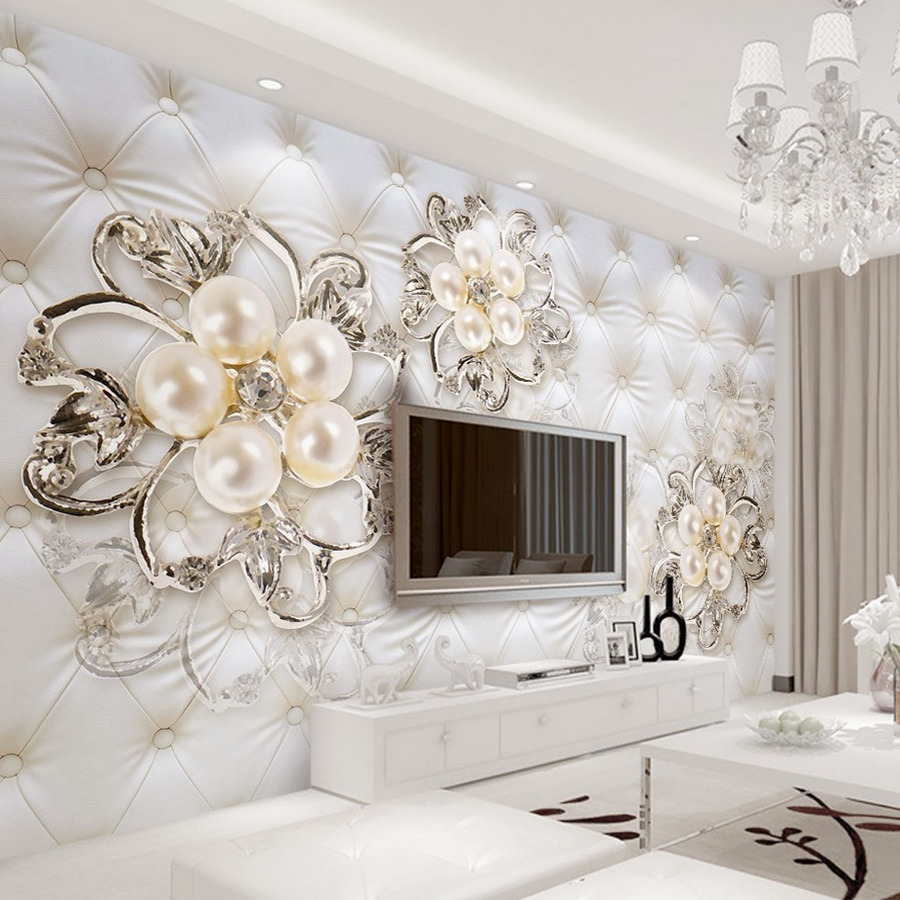 Buy custom 3d wallpaper for walls crystal pearl flowers wallpaper elegant wall - Flower wall designs for a bedroom ...