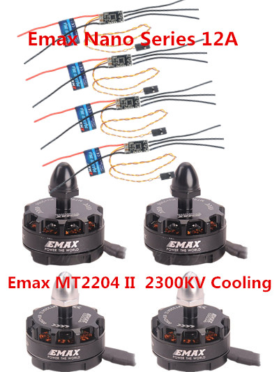 HOT!! 4X EMAX MT2204 II 2300KV Cooling Brushless Motor+4X EMAX Nano Series 12A Brushless ESC for QAV250 TL250H TL280C Quadcopter 25mm x 25mm brushless cooling fan for esc motor black