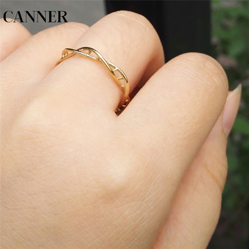 Considerate Canner Infinity Dna Double Spiral Gold Color Ring For Women Stainless Steel Ladies Twist Minimalist Style Finger Ring Anel R4