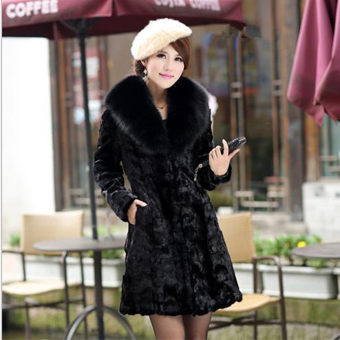 Femme Hiver Z398 Plus Artificielle De Outwear Furry Veste Vison Taille Faux La Manteau Femmes 2019 Fourrure qwn15Zv