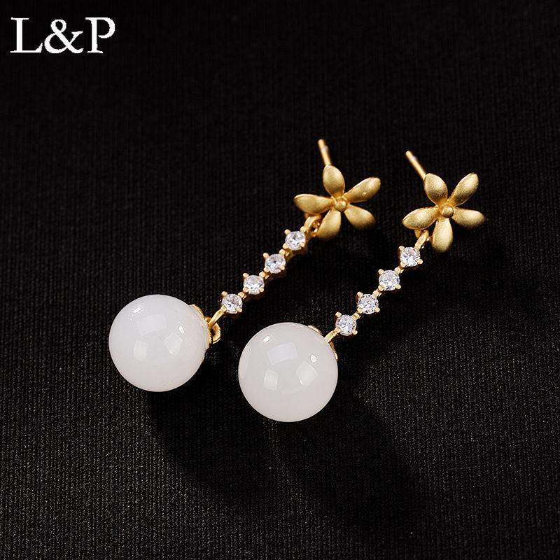 Boucles d'oreilles en argent Sterling véritable 925 HETIAN Jade couleur dorée élégante fleur bijoux originaux faits à la main pour les femmes cadeaux 2019