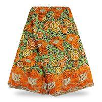 Elegante design africano cera viola tessuto di pizzo guipure di alta qualità cera ankara stampa ricamato tessuto del merletto per il vestito della signora W1708