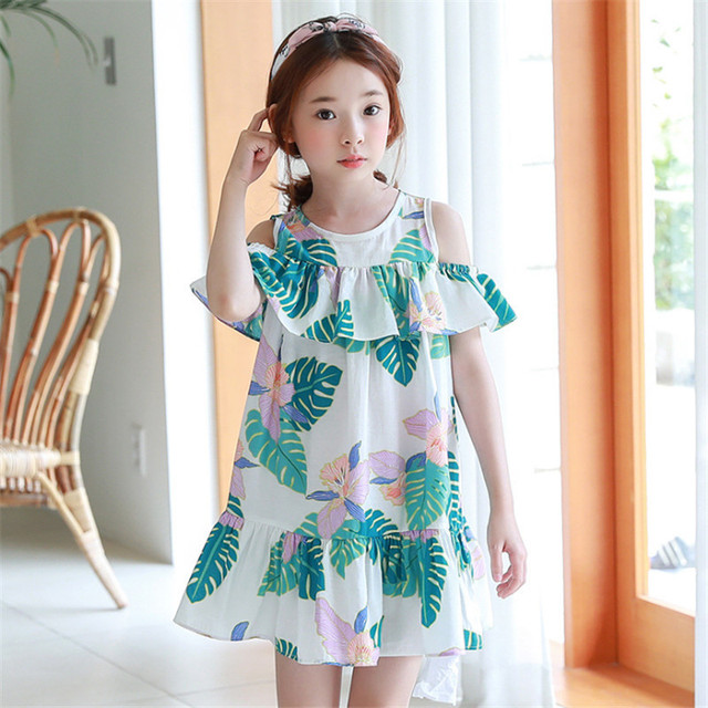 2018 Girls Loose Dress Beach Holidays A-line Dresses Fashion Strapless Sling O-neck Mini Dress Kids Summer Clothes 110-160