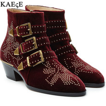 2017 Newest Keven Studded Street Fashion Women Shoes 2016 Hot Sale Soft Leather Boots Chunky Heels Ankle Woman
