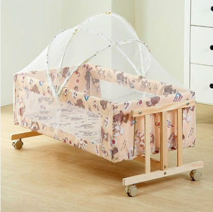 Solid wood baby crib infant bb bed I mute portable baby shake bed with mosquito netSolid wood baby crib infant bb bed I mute portable baby shake bed with mosquito net