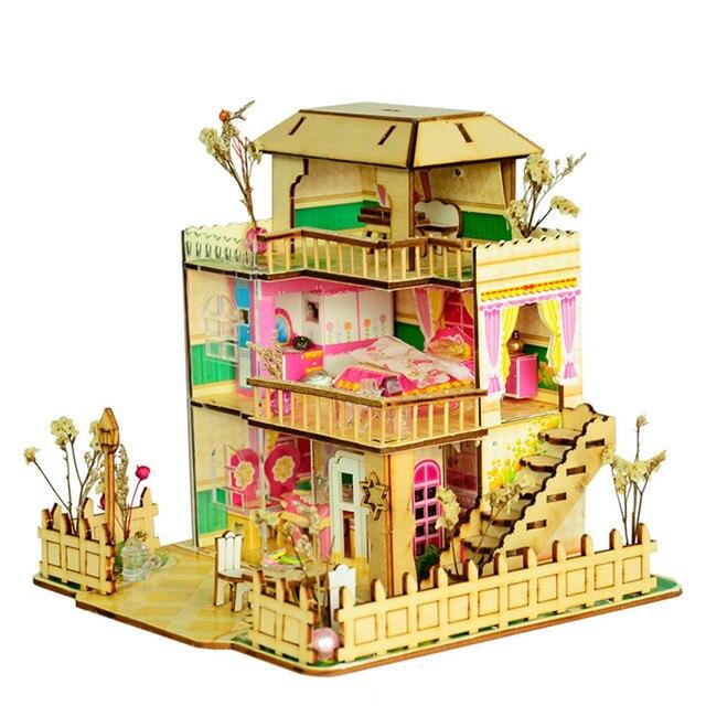Fashion Happy Provence House Room DIY Dollhouse Kit With LED Light Wood  Decoration Handmade Ornament Kids