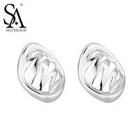 SA SILVERAGE New 100% Real 925 Sterling Silver Geometric Stud Earrings For Women Butterfly Buckle Stud Earrings women gift