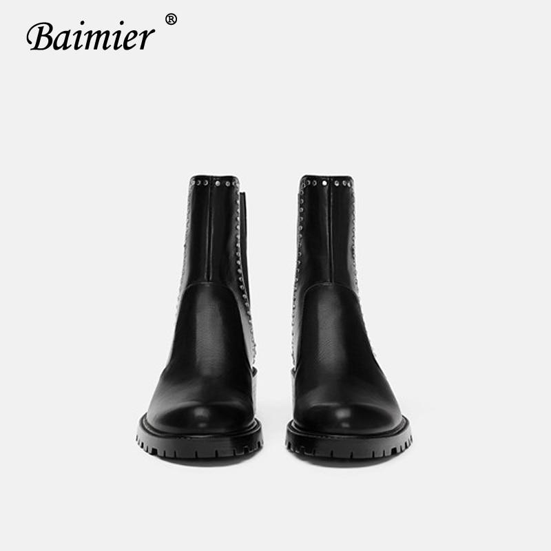 23f9a7ad6718fd Pour Black Femme Rivet Lacets Hiver Chaussures Argent Cuir D'hiver Sans Noir  Talon Bottines Femmes En Faible Bottes À Baimier ...
