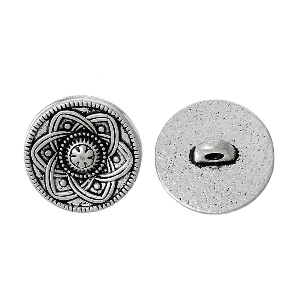 """אבץ מתכת סגסוגת Shank כפתור מתכת כפתורים עגול עתיק כסף אחת חור פרח 15 מ""""מ (5/8 """") dia, 5 יחידות"""