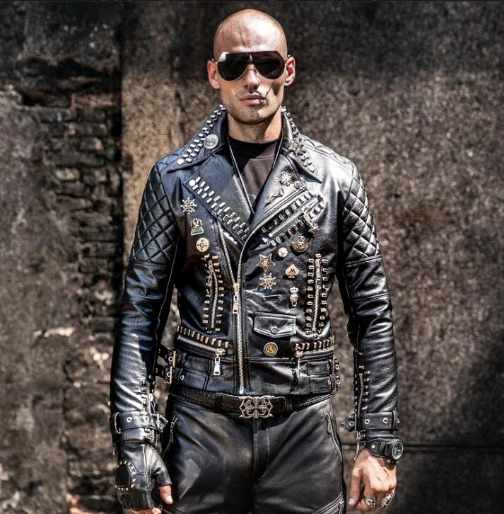 Motorcycle leather men s tide hip hop rivet punk lapel leather jacket trend Korean version of Innrech Market.com