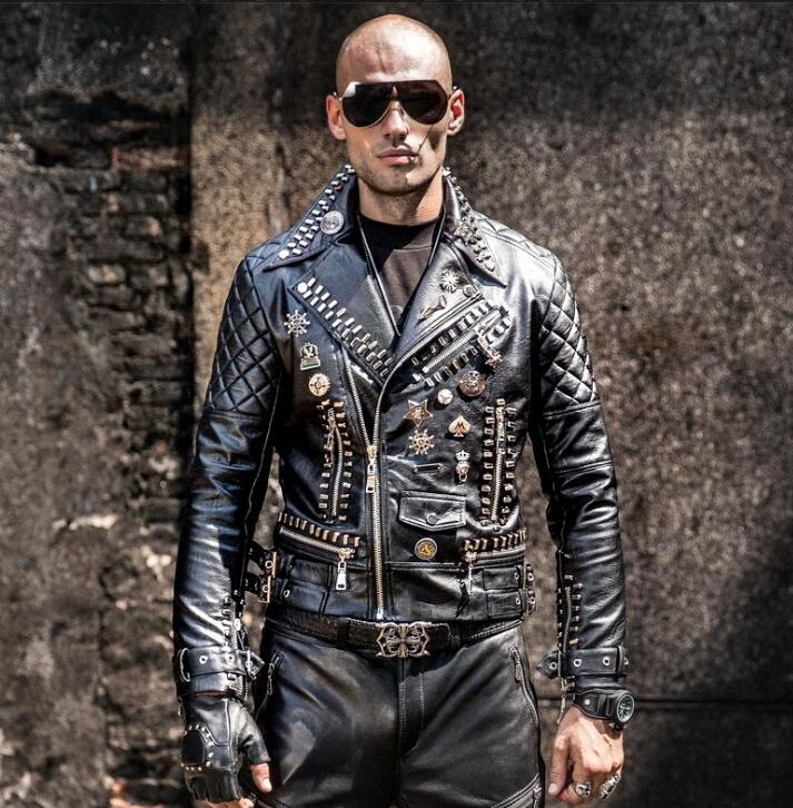 Motorcycle Leather Men's Tide Hip Hop Rivet Punk Lapel Leather Jacket Trend Korean Version Of The Diagonal Zipper Handsome