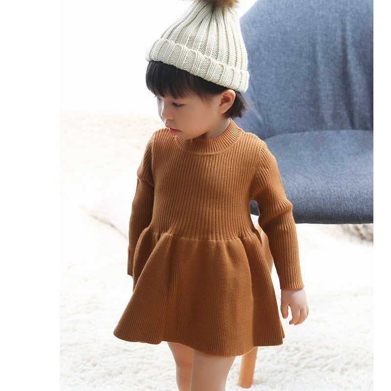 Christmas Wool Toddlers Dress 2018 Autumn Winter Girls Knitted Sweater Dresses Baby Grey Pink Red Dress For Girls Clothes pink knitted backless off shoulder sweater mini dress
