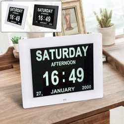 KICUTE Black/White 8 Inch LED LCD Dementia Table Digital Alarm Clock Gifts Photo Frame Calendar Day Clock Date Week Month Year