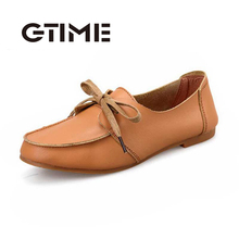 GTIEM 2016 Good PU Leather Women Flat Shoes Solid Insole Round Toe Shoes Woman Spring Simple Lace Up Shoes #ZH519