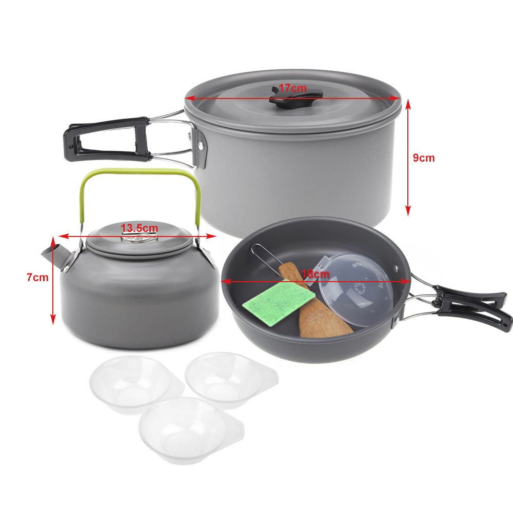 Outdoor Tablewares Fine Boruit 1-2 People Aluminmum Portable Outdoor Camping Hiking Cookware Backpacking Cooking Picnic Bowl Pot Pan Kits
