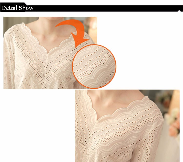 Blusas Femininas 2016 Spring Autumn Women Fashion Plus Size Hollow out Lace Blouse Long Sleeve Sexy Loose White Tops Shirt A602 g