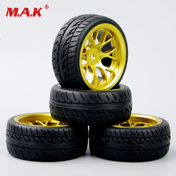 DHG+PP0150 4Pcs/Set 1:10 Scale Tires and Wheel Rims with 12mm Hex fit On-Road RC Car Accessories image