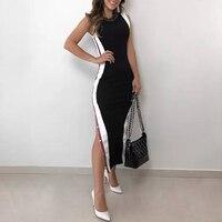 2019 новое поступление женское Модное Элегантное стильное платье-футляр черное платье контрастного цвета на пуговицах с разрезом сбоку обле...