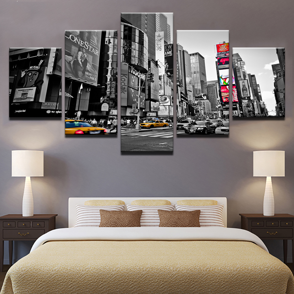 Home Decor Print Painting For Living Room 5 Panel Times Square Cuadros Modular Pictures Poster Frame High Quality Canvas Leather Bag