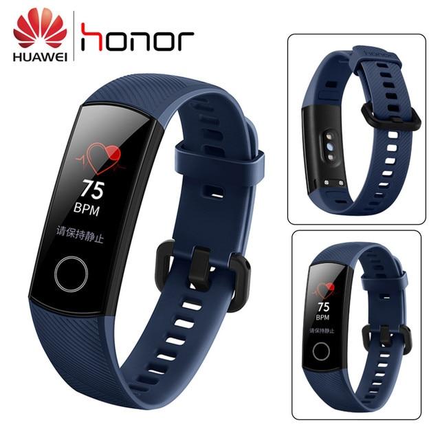 Original Huawei Honor Band 4 pulsera inteligente 0,95 ''Color Amoled pantalla táctil natación postura detectar ritmo cardíaco sueño Snap