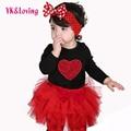 Festival de la Ropa del bebé de Manga Larga Corazón Rojo Negro Bebé mamelucos de 4 capas tutu Falda Diadema de Puntos Muchachas Lindas Valentine'Day conjunto