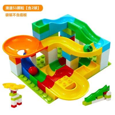 Dolle Knikkerbaan Slide Building juguete bloque Mesa bolas partes Compatible Duplo DIY bloques de construcción coloridos juguetes para niños
