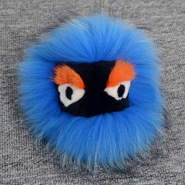 Real fur monster key chain Animal bug keychain Shouldersbag keyring karlito Pom Pom round fur ball car pendant