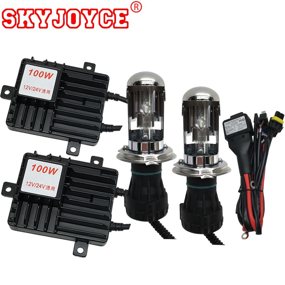 цена на SKYJOYCE 12V 24V Truck headlight lamp hid H4 bixenon hid kit H4-3 6000K 8000K 5000K bi-xenon H4 4300K hid kit 24V H1 H7 H11 H3