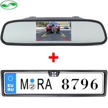 Free shipping , 2in1 New 4 LED Night Vision European License Plate Frame Parking Camera + 4.3 Inch Rearview Mirror Car Monitor