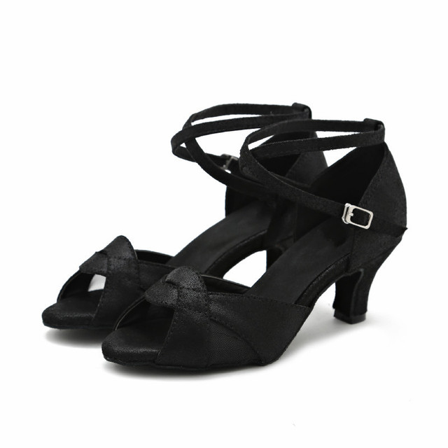 negro baile zapatos zapatos plata de latino caliente tacones altos Salsa de Venta baile mujer salón qzXnHxwvI7
