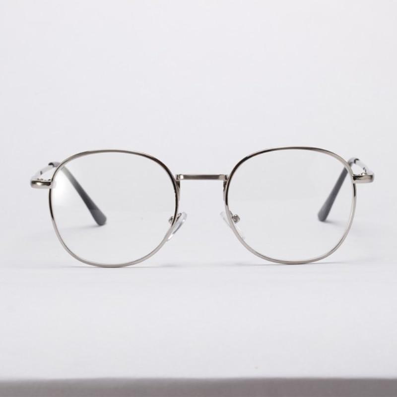 Vintage Transparent Lens Metal Eyeglasses Frame Women Fashion Plain Glass Spectacles Unisex Round Clear Eyewear Glasses
