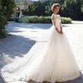 Vestido De Noiva De Renda De Três Quartos Mangas Vestido de Casamento Da Princesa Com Cinto De Cristal 2017 vestido de Baile Vestidos de Casamento Do Vintage