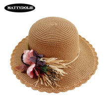 MATTYDOLIE 2019 New Flower Straw Hat Summer Sun Protection Basin Outdoor Seaside Beach Leisure Wide-brimmed