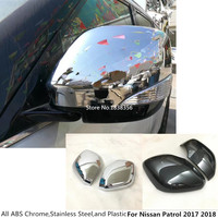 רכב ABS כרום/פחמן סיבי מקלות אחורי צפה Rearview צד זכוכית מראה כיסוי לקצץ מסגרת עבור ניסן סיירת 2017 2018 2019 2020|abs chrome|trim covermirror cover chrome -