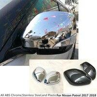 ABS chrome/Carbon fiber style Car sticks rear view Rearview Side glass Mirror Cover trim frame 2pcs For Nissan Patrol 2017 2018
