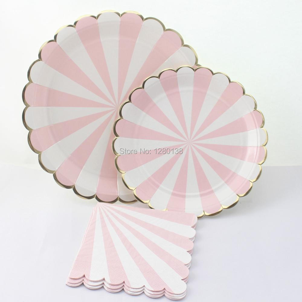 Scallop Design Party Tableware,Pastel Pink Striped with Metallic Gold Edge Paper Plates,Princess Party Pink Paper Napkins