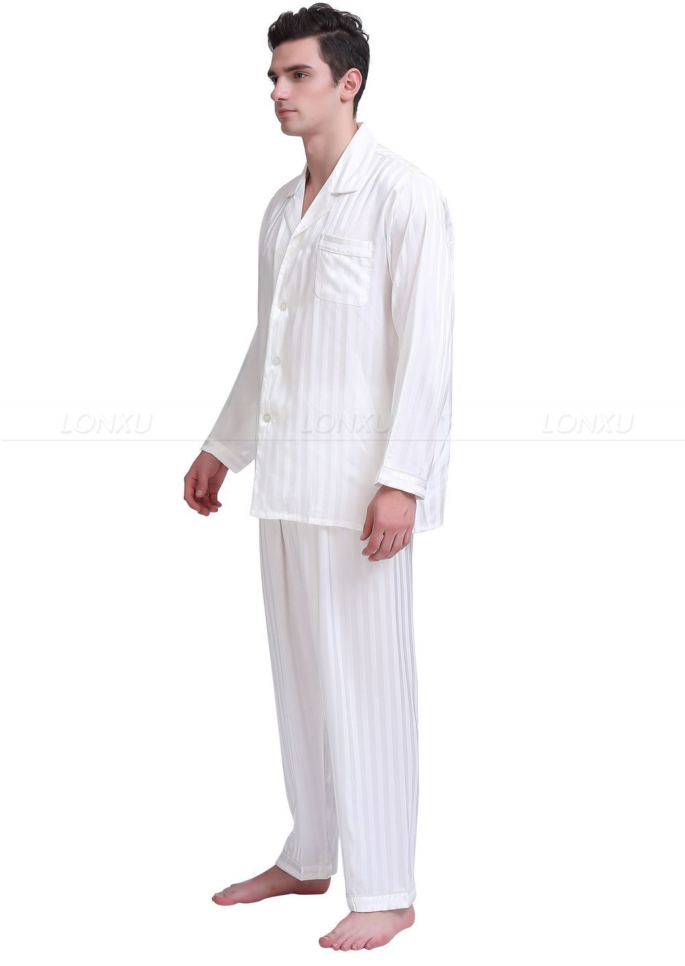 Black Silk Pajamas: Mens Silk Satin Pajamas Set Pajama Pyjamas Set Sleepwear