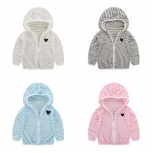 Children Striped Air Conditioner Clothing Boys Girls New Breathable Sun Protection Outerwear 1-6Y Comfortable(China)