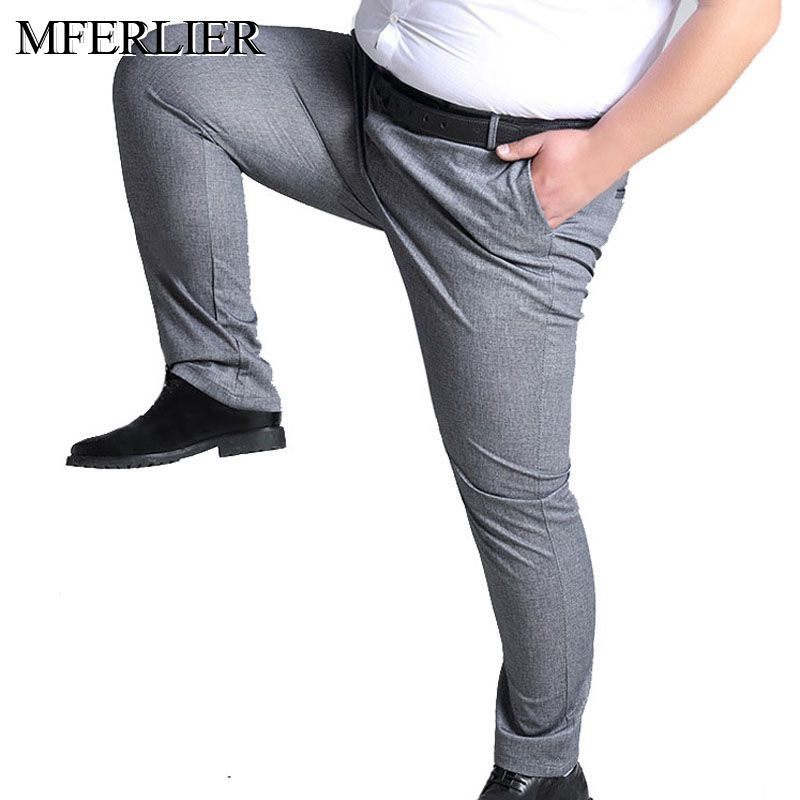 MFERLIER Spring Summer men pants 5XL <font><b>6XL</b></font> <font><b>7XL</b></font> <font><b>8XL</b></font> 9XL 10XL waist 138cm Plus size elastic weight 145kg large size pants men image
