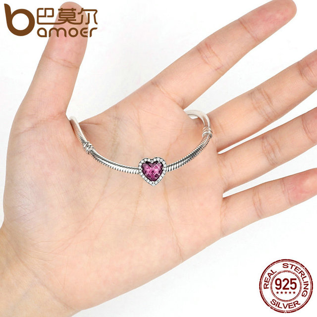 Sterling Silver Heart Stone Pink Beads Charm