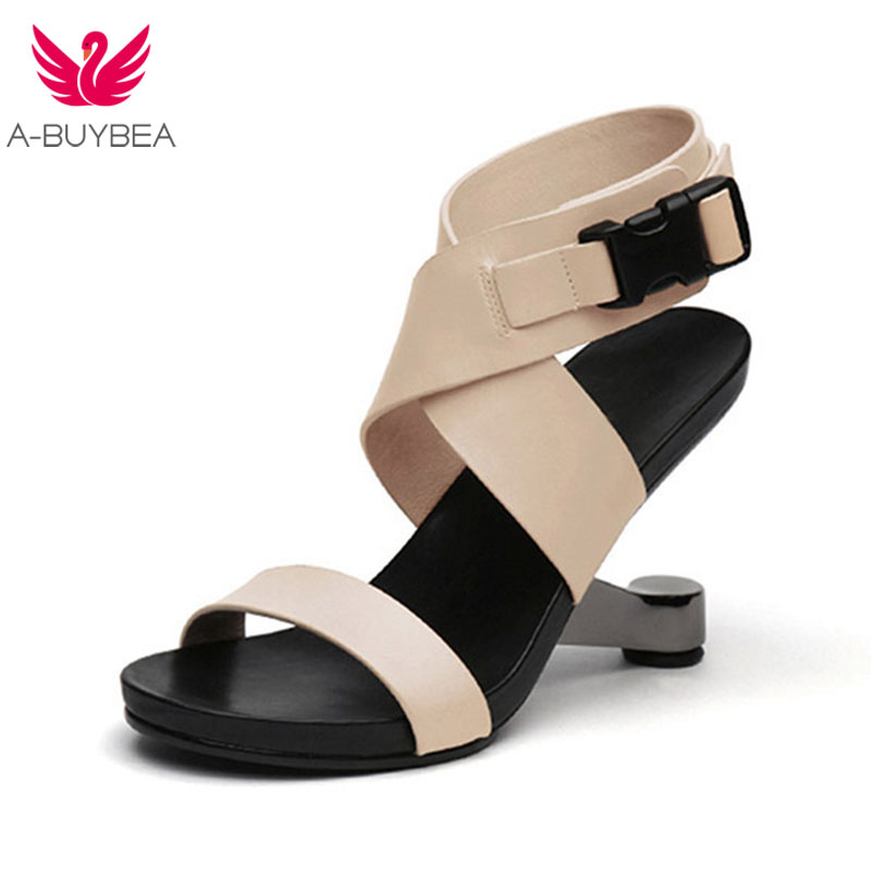 A-BUYBEA gladiateur sandales chaussures pour femmes en métal talon étrange chaussures Sexy femme talons hauts femmes sandales