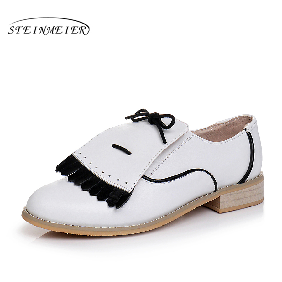 Genuine cow leather brogues designer vintage flats shoes round toe handmade white black oxford shoes for women 2018 spring genuine leather woman size 9 designer yinzo vintage flat shoes round toe handmade black grey oxford shoes for women 2017