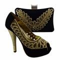 Italiano de Zapatos Con Tacones Zapatos de Italia Y Bolso A Juego de La Manera bolso A Juego de Color Negro Las Mujeres Africanas Para El Partido 1308-L71