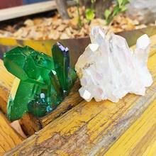 2 шт. Aura ангельский кристалл кластера зеленый и белый натуральный Титан покрытие Драгоценный Камень кварцевый кластер Исцеление домашний декор